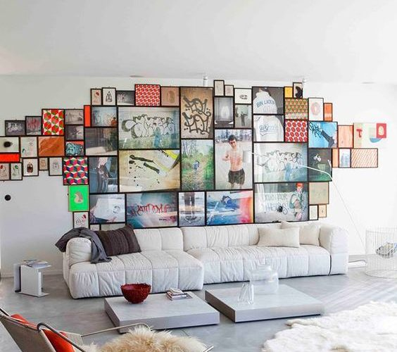 COLLAGE ART IN LIVING ROOM