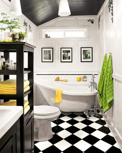 BLACK AND WHITE BATHROOM DECORATION IDEAS