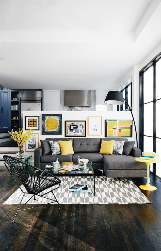 You Can Make Use Of The Yellow Color To Color Your Gray Black Living Room  Decoration. For Example, You Can Place Yellow Pillows On Your Gray Seats Or  Add ... Part 64