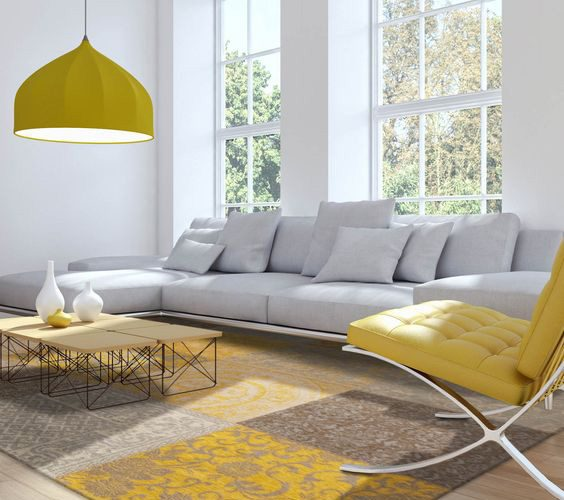 GRAY-YELLOW LIVING ROOM DECORATION