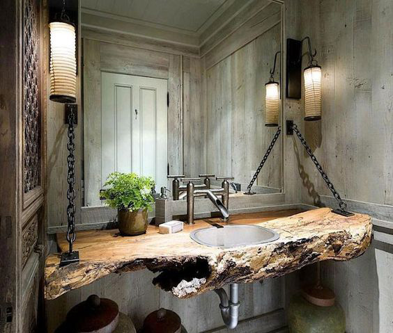 BATHROOM DECORATION WITH WOODEN COUNTERTOPS