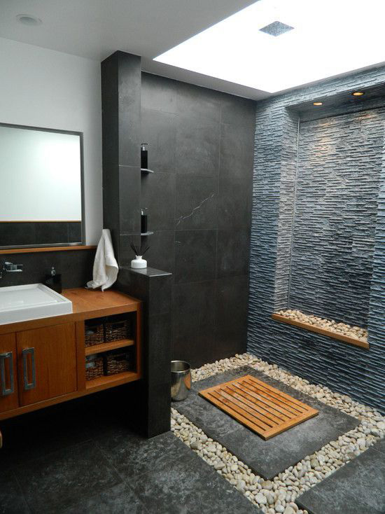 Most of us dreamed of a Japanese style bathroom. Black granite floor, white  oval bathtub and pebbles If you have sufficient possibilities and rely on  your ...