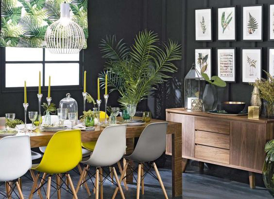 YELLOW-GRAY TREND IN DINING ROOM